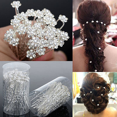 40 PCS Wedding Hair Pins Crystal Pearl Flower Bridal Hairpins Accessories NJ
