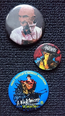 3 Freddy Krueger NIghtmare on Elm Street 5 Buttons RARE Promo
