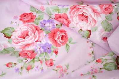 "Big Pink Cabbage Roses 100% cotton fabric sold by meter 63""/160cm width 1805027"
