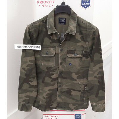 Abercrombie & Fitch Mens Destroyed Shirt Jacket Olive Green Camo Size M,xxl