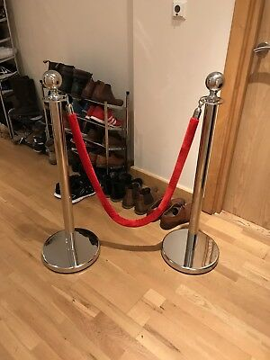 2xPolished Steel Queue Rope Barrier Posts Stands Velvet Rope Stanchion