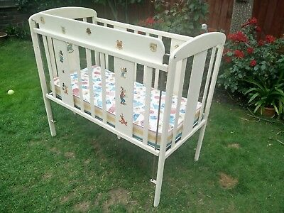 Beautiful Vintage Antique Wooden Babys Folding side Cot 1930s 1940s