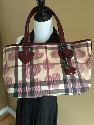 Authentic Burberry Hearts Limited Edition Supernova Check Bag Tote Purse Red 2d8d671e63122