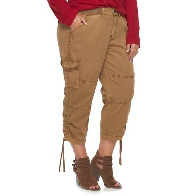 NWT Women's Plus Size SONOMA Goods for Life Mid Rise Scrunch Drawstring Capris