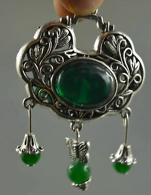 Collectable Handwork Old Miao Silver Carve Flower Inlay Jade Auspicious Pendant