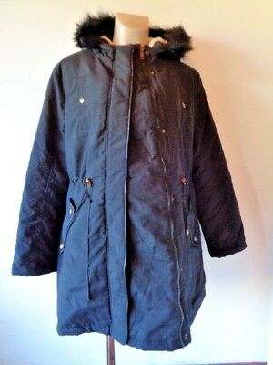 George Maternity & Beyond Black Quilted Parka Coat Jacket Size 16