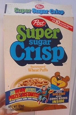 1979 Post Sugar Crisp Cereal Box DC Superheroes Comic Book offer wonder woman