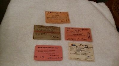 Reduced: Lot Of 5 Railroad Passes (1 Price For All)