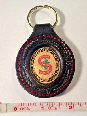 Antique Singer Featherweight RED S badge, Leather hand made keychain 211 or 222