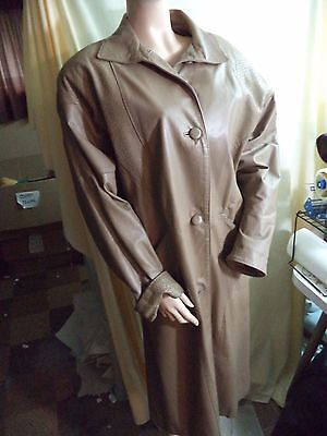 Comint Argentina Womans L Trench Coat Caramel Brown Leather Crackle Trim VGC