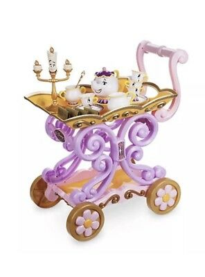 Disney Mrs Potts Belle's Cart Tea Set Trolley Talking Lumiere Beauty & The Beast