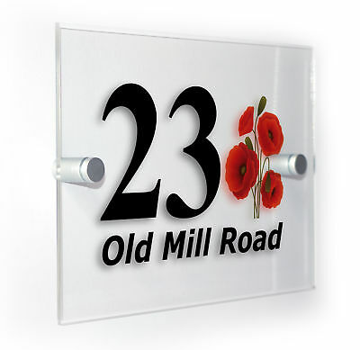 Poppy Poppies Classic Style Custom House Door Number Sign Plaque