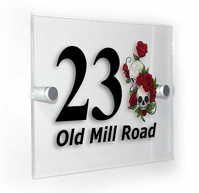 Skulls & Roses Classic Style Custom House Door Number Sign Plaque