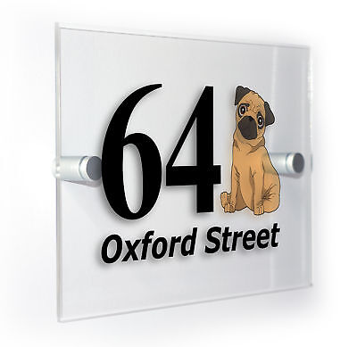 Pug Classic Style Custom House Door Number Sign Plaque