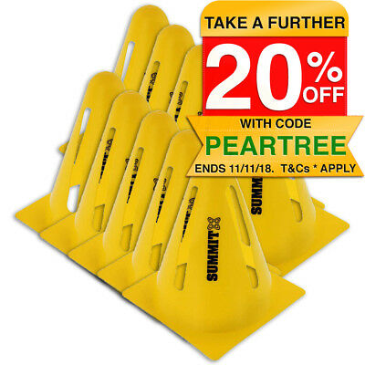 10x Summit Flexi Cones Soccer/Rugby/Fitness/Exercise/Sports/Training Cone Yellow