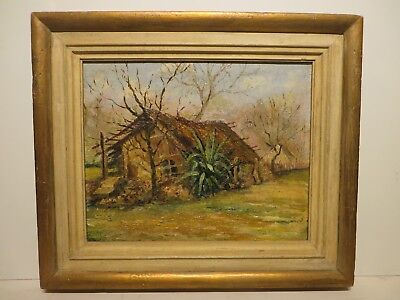 "12x15 org. 1925 oil painting by Rolla Taylor of ""Coleto Creek House in S.A. Tx."""