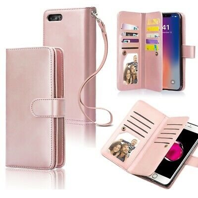 For iPhone X 8 7 Plus Luxury Wallet Case Flip Leather Removable Magnetic Cover