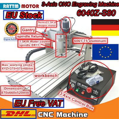 【Free VAT】 3 Axis 1500W 6040 Mach3 CNC Router Engraving Milling Machine Kit 220V