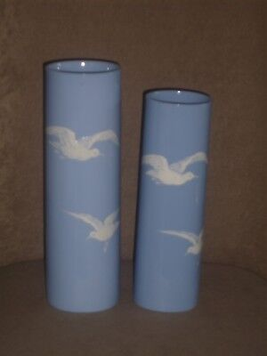 Rare Vintage Pair Lenox Solid Blue Cylinder Vases Hp White Flowers Old Blue Mark