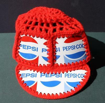 Pepsi-Cola Crochet 1970's Retro Baseball Hat Made With Real Cans-Groovy Man-RWB