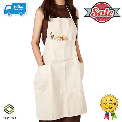 "Professional Bib Apron Canvas Cotton In-Adjustable Artist Painting 31""x27"" CONDA"