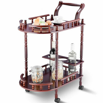 Kitchen Serving Bar Cart Trolley Wood 2 Tier Rolling Wine Rack Stand Cherry