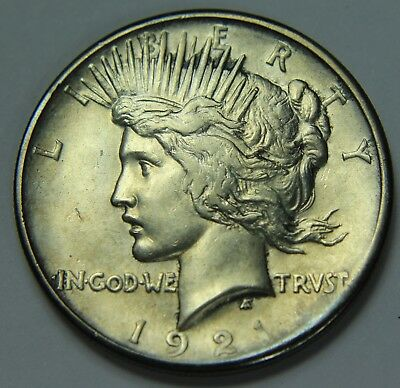 1921 Peace Dollar 90% Silver Key Date High Relief $1 Old US Coin NR Z43