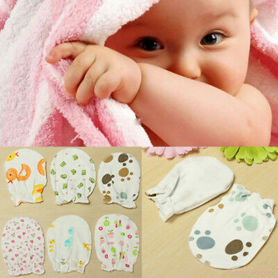 3 Pairs Soft Newborn Baby Handguard Anti-Scratch Cartoon Mittens Gloves Proper