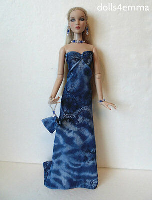 CAMI DOLL CLOTHES Gown + Purse + Jewelry Antoinette Handmade Fashion NO DOLL d4e