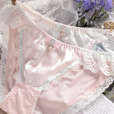 Lovely Underwear Lace Beads Bow Style Panties Mid-rise Brief Cute Girls Panties