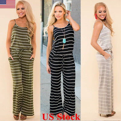 US Ladies Jumpsuit Striped Women Summer Casual Sleeveless Romper Fashion New