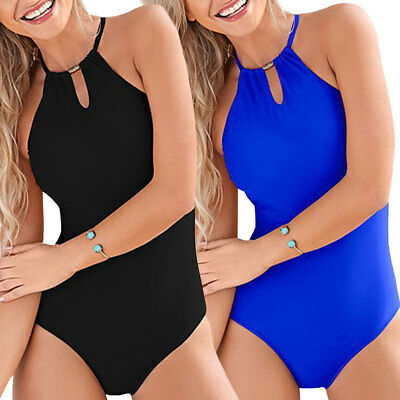 Women Backless Bandage Halter Neck Solid Color One-piece Swimsuit Swimwear