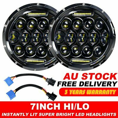 "Pair 7"" inch Black For JEEP JK GQ PATROL Projector LED Headlight DRL Insert 75w"