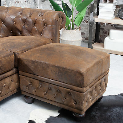 Edler Design Chesterfield Fußhocker antik braun Polsterhocker Sofahocker Hocker