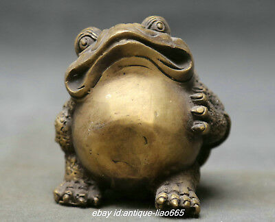 """3.1"""" Collect Old China Fengshui Bronze Lovable Animal Golden Toad Spittor Statue"""