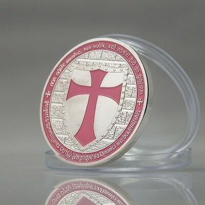 1 oz Pink Cross Knight Templar Finished in 18k White Gold Coin/Medallion