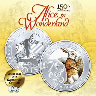 1oz 150th Anniversary Alice In Wonderland Rabbit Finished in 18k White Gold Coin