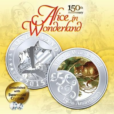 1 oz 150th Anniv Alice In Wonderland CHESIRE CAT Finished in 18k White Gold Coin