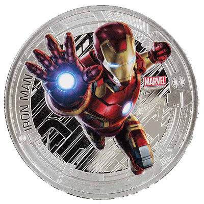 1 oz Avengers Age of Ultron Iron Man Finished in 18k White Gold Coin