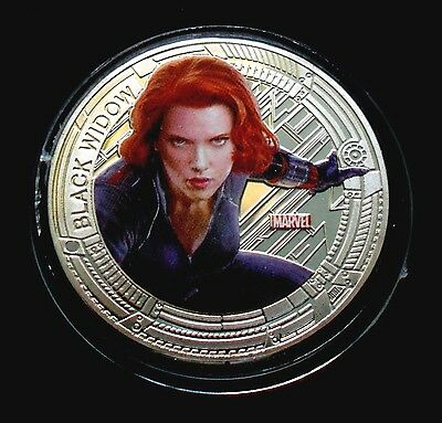 1 oz Avengers Age of Ultron - Black Widow Finished in 18k White Gold Coin