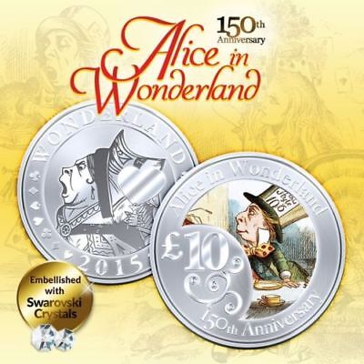 1 oz 150th Anniv Alice In Wonderland Mad Hater Finished in 18k White Gold Coin
