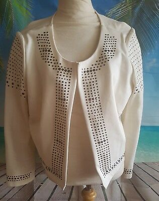 Autograph white blazer jacket with bling stud detail size 16