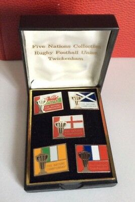 Lot 5 Pin's Rugby Vintage Box Coffret Five Nations Collection