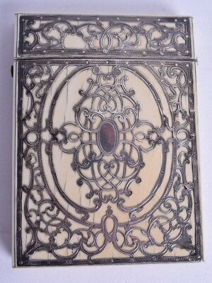magnificent 19thc solid silver open work sterling victorian card case calling