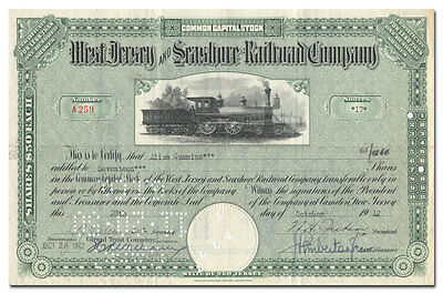 West Jersey and Seashore Railroad Company Stock Certificate