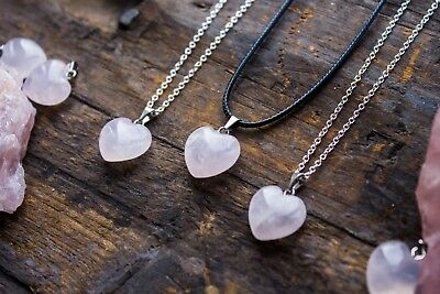 Rose Quartz Heart Necklace Polished Pendant Jewellery Natural Crystal Healing
