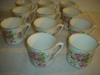Lot De 11 Tasses À Café En Porcelaine Décor Roses
