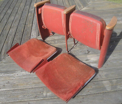 Pair of Antique Vintage Heavy Cast Iron Movie Theater Chair Seats