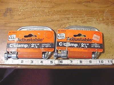 """2 NOS Adjustable Clamp Company 2-1/2"""" C-clamps # 1425-C  MADE IN THE USA"""