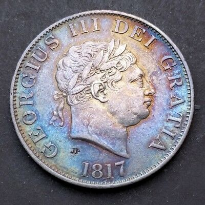 1817 Halfcrown - George III British Milled Silver Coin, Half Crown (small head)
